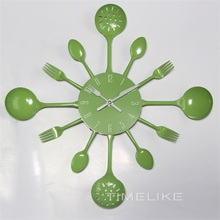 16 Inch Muliticolor Large Size Kitchen Wall Clock Fork Spoon Metal Wall Clock Special Gift Home Decoration(China)