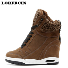 2017 Women's Casual Shoes Wedge Women Wedge Boots Shoes Zapatos Mujer Hidden Wedge Shoes Winter Ankle Boots For Women LORFRCIN