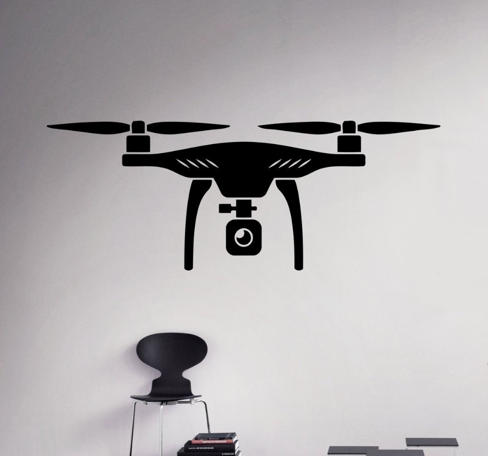 New arrival Air Drone Wall Vinyl Decal Quadcopter Wall Sticker Aircraft Home Wall Art Decor Ideas Interior Removable Design(China (Mainland))