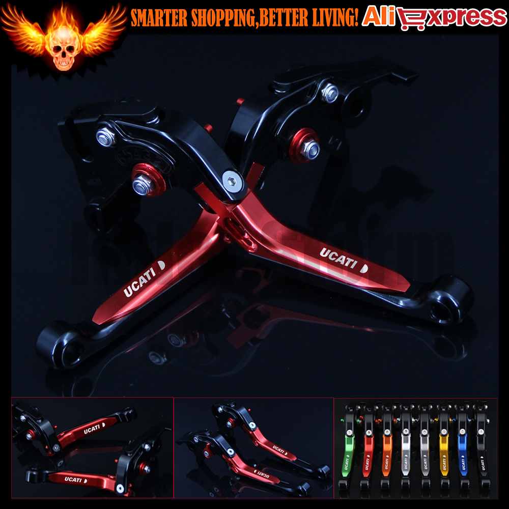 Red+Black CNC Adjustable Folding Extendable Motorcycle Brake Clutch Levers For Ducati 620 MONSTER / 620 MTS 2003 2004 2005 2006<br>