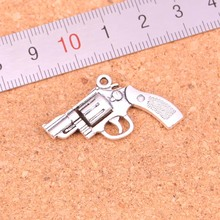 8Pcs/lot 29*22mm Antique Silver Plated pistol revolver gun Charms Pendant Fashion Jewelry making for necklace(China)