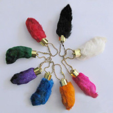 Free shipping lucky charm amulet rabbit foot keychain(China)