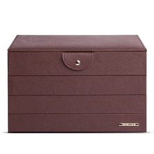 Large Brown Jewelry Cabinet Faux Leather Cufflinks Box PU Jewelry Bags Watch Organizer Necklace Ring Earring Display ZG234(China)