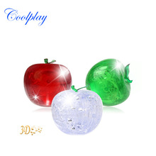 Coolplay CP9003A DIY Funny Pisces Apple Crystal 3D Puzzles with color lights 45pcs best toys for children decoration gift