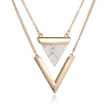 2016 Hot Sale Multilayer Artificial Marble Stone Triangle Necklaces & Pendants New women Alloy Layered Necklace Jewelry