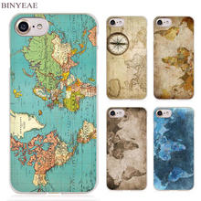 BINYEAE Old Retro Colorful World Map Clear Cell Phone Case Cover for Apple iPhone 4 4s 5 5s SE 5c 6 6s 7 Plus(China)