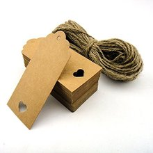 100pcs 10.5*5.5cm Hollow Heart Scalloped Kraft Paper Card / Blank Tag / Wedding Favour Gift Tag Price Label with 10M Rope