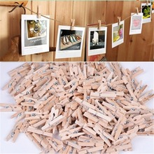 50 PCS Mini Wooden Clothes Photo Paper Peg Pin Clothespin Craft Clips Pure color