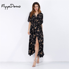 Buy Boho floral Print Chiffon Split Long Dress Women Beach Dress 2017 Summer V Neck Kimono Sexy Dress Elegant Sash Wrap Maxi Dresses for $15.80 in AliExpress store