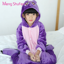 Mengshufen Pajamas Set Children Purple Cat Sleepwear Set Flannel Nightgown Winter Girls Funny Unsiex Pyjamas Cartoon Warm 1245(China)