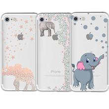 Most popular Elephant pattern Silicone Soft TPU Case for Couqe iPhone 7 4 4S 5 5S SE 5C 6 6S 8 Plus X Anti falling mobile phone(China)