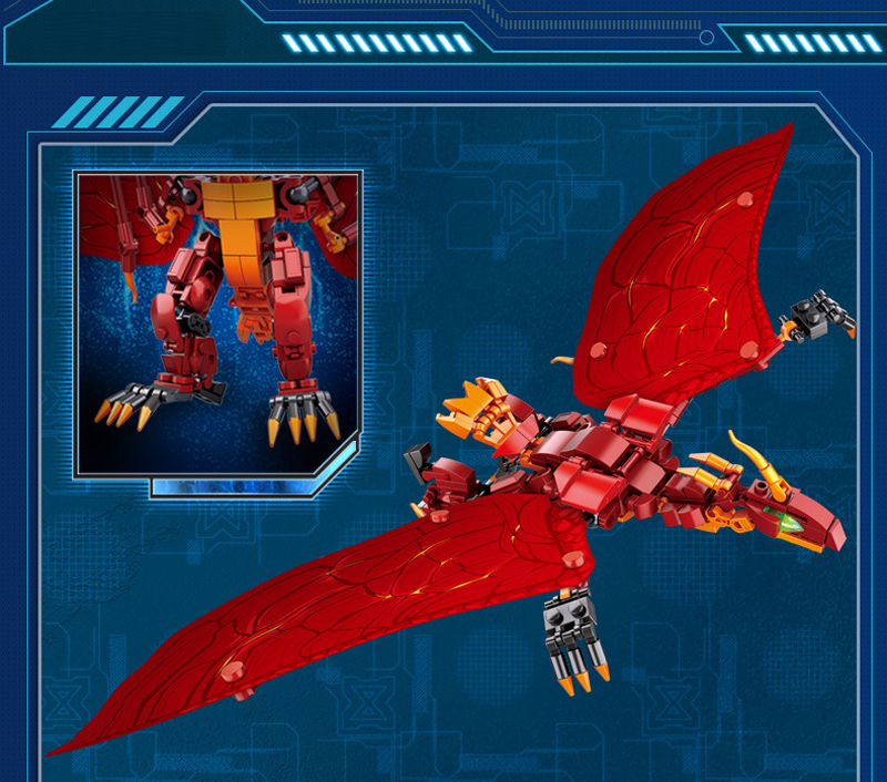 Sluban M38-B0783/B0785/B0786 King of The Monsters Godzilla Ghidorah Rodan Building Blocks 17