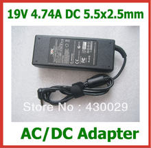 AC/DC Adapter 19V 4.74A 90W 5.5x2.5mm Power Supply for Lenovo Asus Toshiba N102 Laptop Replacement Charger with AC Cable
