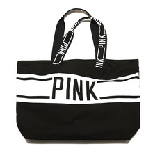 black white CANVAS TOTE BAG 2017 LIMITED EDITION PINK STRIPED VS shopping beach weekend holiday bag(China)