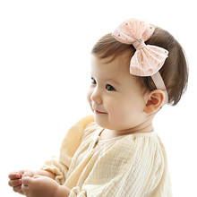 Little girl Bow princess headband elastics headbands Kids Hair accessories Infant Child Lace bow hair head band 1pc HB051