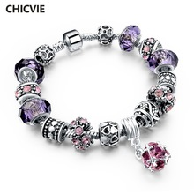 CHICVIE Silver color Crystal Charm Bracelets for Women With Purple Beads bracelets & bangles Love DIY Jewelry Bracelet Femme