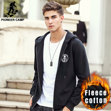 Pioneer Camp brand clothing Spring winter fleece hoodie hoodies men top quality fashion male black zipper sweatshirts 699023