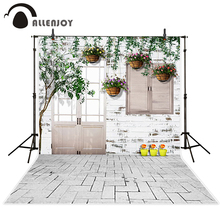 Allenjoy photography backdrops Children indoor door tree flower white brick floor vintage wood wall fond Camera photography(China)