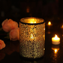 GiveU 4X6 Inch Mosaic Led Candle, Battery Operated Flameless led Candle Work With 2xD Batteries, for Home Party(China)