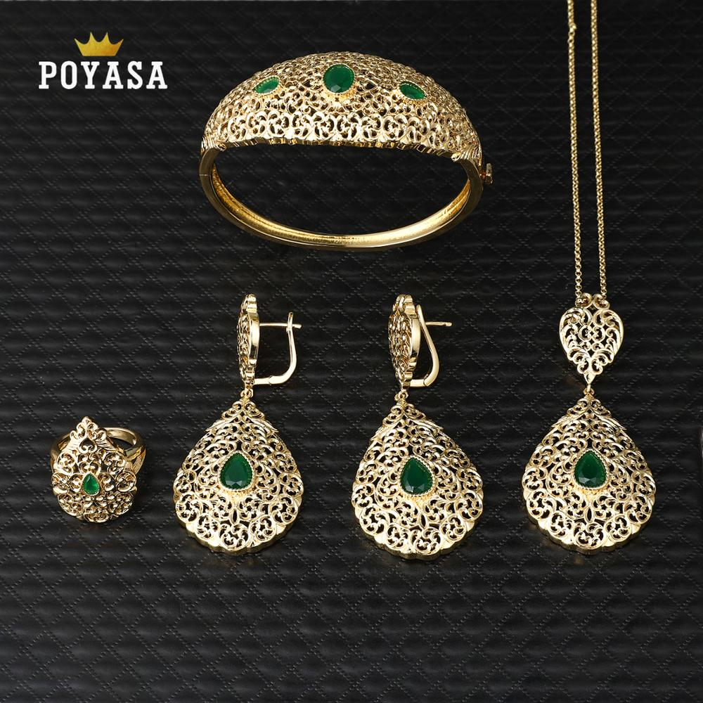 Jewelry-Set Green-Stone Caftan Copper Moroccan Wedding-Gold High-Quality Fashion title=