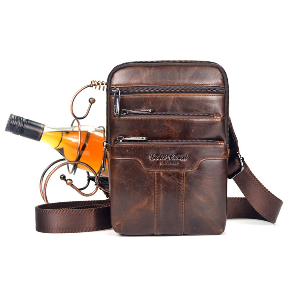 New Men Oil Wax leather First layer Cowhide Travel Cross Body Messenger Shoulder Fashion High Quality Sling Chest Bag<br>