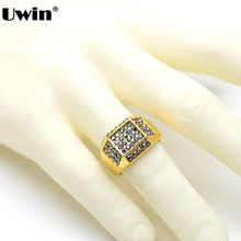 Men's Gold Tone Classic Bling Stainless Steel Plated Micro-Pave Iced Out Square Dazzling Hip Hop Style Ring Reasonably Priced(China)