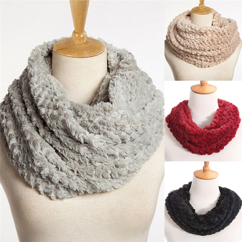Women Winter Warm Infinity Circle Cable Knit Cowl Neck Faux Fur