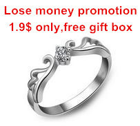 Promotion high quality fashion angel wings 30% silver plated ladies`finger wedding rings jewelry gift wholesale drop shipping
