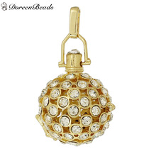 DoreenBeads Copper Wish Box Pendants Round Hollow Clear Rhinestone Can Open (Fit Bead Size: 20mm) 48mm x 29mm, 1 PC
