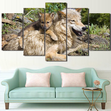 Canvas Modular Pictures Unframed 5 Panels Wild Wolf Cubs HD Printed Wall Art Painting Fashion For Living Room Decor Poster(China)