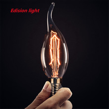 4PCS Carbon Art antique style light bulbs american vintage Edison lamp C35 Warm White E14s110V 220V Halogen Edison light