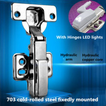 Top Quality folding hinge Hydraulic buffer 703 cold-rolled steel fixedly mounted cupboard door hinge with LED light