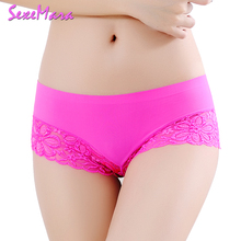 Buy Women's Sexy Lace Panties Seamless Underwear Briefs Nylon Silk Girls Ladies Bikini Cotton Crotch Transparent Lingerie HD068