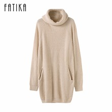 Buy FATIKA Fashion 2017 Women Autumn Winter Knitted Dress Turtleneck Long Sleeve Ribbed Casual Mini Sweater Dresses Pockets for $22.16 in AliExpress store