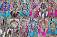 Mix Color 12PCS/LOT Native American Dream Catcher Circular Net With feathers Wall Hanging Decoration Decor Ornament