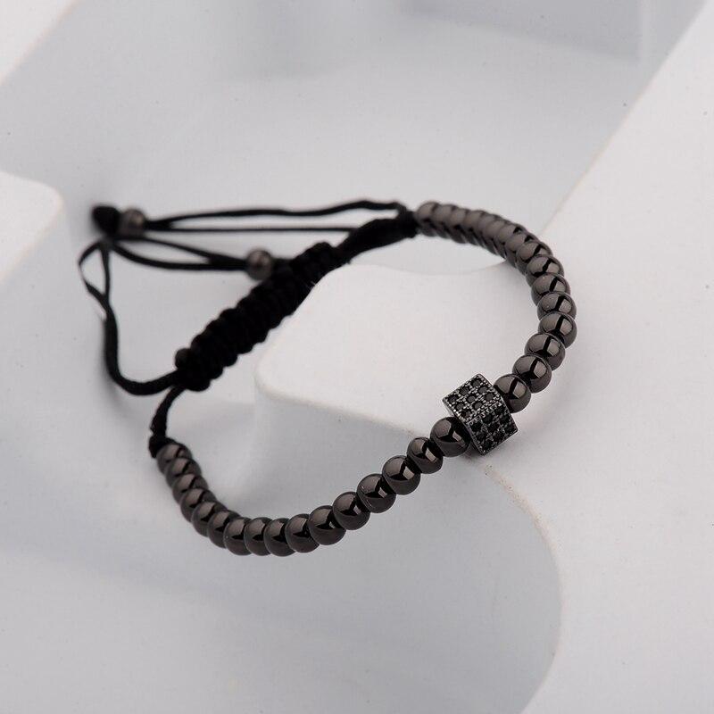 DOUVEI 17 New Black Diy Design Pave CZ Ball Charm Bracelet Men Women Braided Macrame Copper Beads Jewelry Gift For Men Women 4
