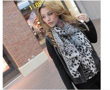 White and brown Fashion leopard grain Velvet chiffon scarf scarves, Europe and the United States leopard scarf Party decorations