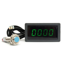 Tachometer 4 Digital Green LED Tach RPM Speed Meter With Hall Proximity Switch Sensor NPN 12V(China)