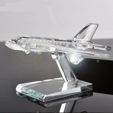 Fine Austrian crystal plane desktop furnishing articles model Art&collection rare glass craft quartz paperweight gifts