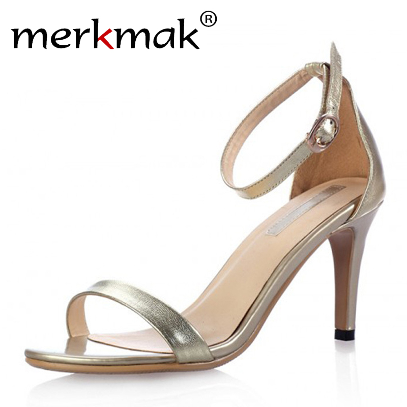 New 2017 Summer Vogue Gold Silver Women Clasic Dancing High Heel Sandals Party Wedding Shoes for Ladies Office Work Thin Heels<br><br>Aliexpress