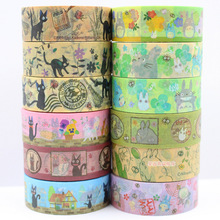 Free Shipping12 ROLLS 15mmx3m Japan cartoon washi colored Tape/Beautiful and lovely TOTORO adhesive decorative masking Tape