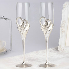 Fashion toasting wine glasses double heart goblet  wedding gifts champagne flutes love gift