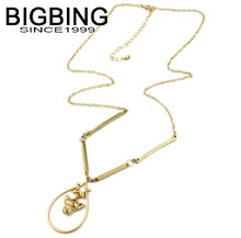 BIGBING fashion jewelry golden stat pendant Necklace chains necklace high quality free shipping S144