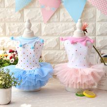 Dot Summer Puppy Skirt Wedding Pet Dog Dress Clothes for Small Dog Cat New Tutu Dress Teddy Chihuahua Clothes 2 COLORS(China)