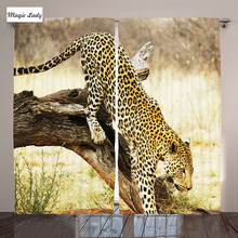 Safari Collection Leopard Tree Desert Plants Exotic Hunter Predator Big Cat Living Room Curtain 2 Panels Yellow Green Brown