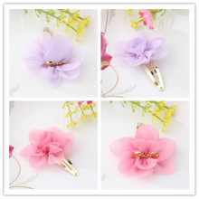 New Brand Children Hair Accessories Chiffon Flower Hairpins Baby Headwear Girls Hair Clips Smile Letter Best Gift Barrettes