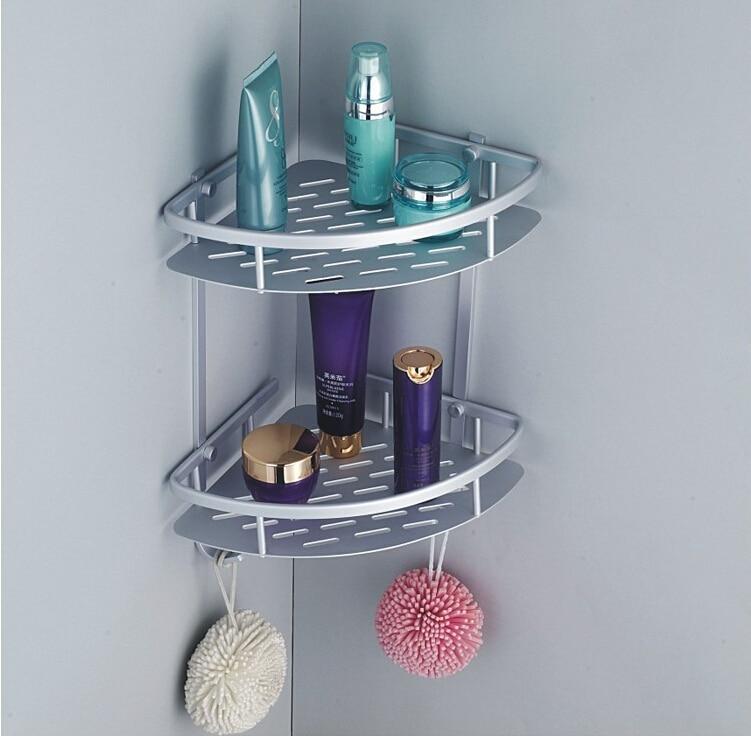 Aluminum alloy Dual tier bathroom conner shelf basket bathroom shelf  wall mounted bathroom shower caddy shelf mug shelf<br><br>Aliexpress