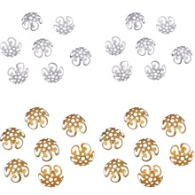 LNRRABC 100 pcs/200 pcs/lot High Quality DIY Gold/Silver Color Hollow Flower Metal Charms Bead Caps for Jewelry Making 10mm