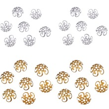 LNRRABC 100 pcs/200 pcs/lot High Quality DIY Gold/Silver Color Hollow Flower Metal Charms Bead Caps for Jewelry Making 10mm(China)