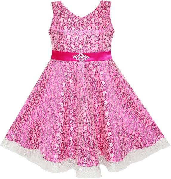 Flower Girls Dress Lace Sparkling Diamond Wedding Pageant 2017 Summer Princess Party Dresses Children Clothes Size 7-14 Sundress<br><br>Aliexpress